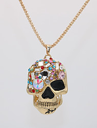 cheap -Men's Women's Pendant Necklace Statement Necklace Classic Skull Statement Unique Design Punk Rock Gold Plated Glass Chrome Gold 70 cm Necklace Jewelry 1pc For Halloween Carnival Masquerade Holiday Bar