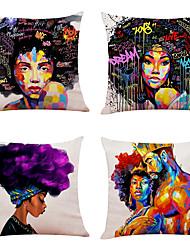 cheap -Set of 4 African Style Linen Square Decorative Throw Pillow Cases Sofa Cushion Covers 18x18