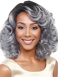 cheap -chignons Bangs Curly Loose Curl Side Part Wig Medium Length Grey Synthetic Hair 18 inch Women's Fashionable Design Classic Women Dark Gray