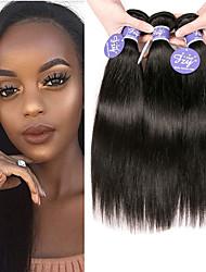 Недорогие -3 Связки Бразильские волосы Прямой Необработанные натуральные волосы 100% Remy Hair Weave Bundles 150 g Головные уборы Человека ткет Волосы Пучок волос 8-28 дюймовый Нейтральный / Без запаха