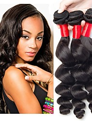 Недорогие -6 Связок Бразильские волосы Свободные волны человеческие волосы Remy 300 g Человека ткет Волосы Пучок волос One Pack Solution 8-28inch Естественный цвет Ткет человеческих волос / Необработанные