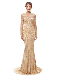 cheap -Mermaid / Trumpet Jewel Neck Court Train Tulle Elegant & Luxurious Formal Evening Dress with Beading / Sequin / Crystals 2020