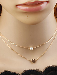 cheap -Women's Necklace Layered Necklace Charm Necklace Imitation Pearl Chrome Gold Silver 34 cm Necklace Jewelry 1pc For Daily School Street Holiday Festival
