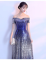 cheap -A-Line Off Shoulder Floor Length Sequined Bridesmaid Dress with Sequin