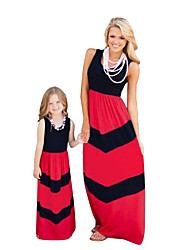 cheap -Mommy and Me Active Basic Striped Color Block Patchwork Sleeveless Regular Maxi Regular Cotton Dress Red