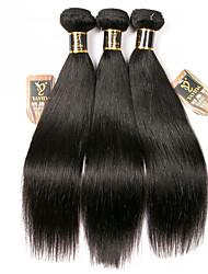cheap -3 Bundles Brazilian Hair Straight 100% Remy Hair Weave Bundles Natural Color Hair Weaves / Hair Bulk Bundle Hair One Pack Solution 8-28 inch Natural Color Human Hair Weaves Odor Free Smooth Best