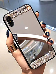 cheap -Case For Apple iPhone XS / iPhone XR / iPhone XS Max Rhinestone / Mirror Back Cover Tile Hard Tempered Glass