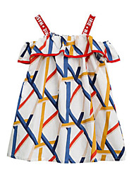 cheap -Kids Girls' Cute Street chic Striped Patchwork Patchwork Print Sleeveless Dress White