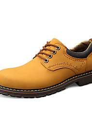 cheap -Men's Leather Shoes Nappa Leather Spring / Fall Sporty / Preppy Oxfords Non-slipping Black / Yellow / Khaki / Athletic / Outdoor / Comfort Shoes