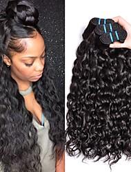 Недорогие -3 Связки Малазийские волосы Волнистые человеческие волосы Remy 150 g Человека ткет Волосы Пучок волос Накладки из натуральных волос 8-28 дюймовый Естественный цвет Ткет человеческих волос
