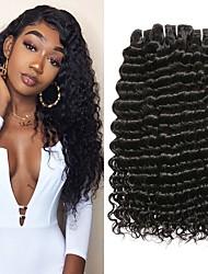 Недорогие -3 Связки Бразильские волосы Крупные кудри человеческие волосы Remy 150 g Человека ткет Волосы One Pack Solution Накладки из натуральных волос 8-28 inch Естественный цвет Ткет человеческих волос