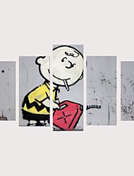 cheap -Print Rolled Canvas Prints Stretched Canvas Prints - People Cartoon Vintage Modern Five Panels Art Prints