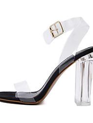 cheap -Women's Sandals Clear / Transparent / PVC Spring / Summer Chunky Heel / Block Heel Peep Toe Transparent Shoes Dress Party & Evening Buckle PVC White / Black / EU41