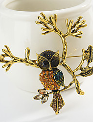cheap -Women's Brooches Classic Owl Animal Cartoon Sweet Fashion Folk Style Brooch Jewelry Gold Silver For Graduation Gift Daily Carnival Festival