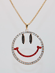 Недорогие -Жен. Ожерелья с подвесками Цепочка длинное ожерелье Классический Лицо Счастливый Простой модный Мода Хром Позолоченное розовым золотом Белый 70 cm Ожерелье Бижутерия 1шт Назначение