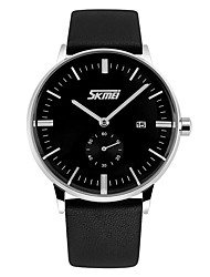 cheap -SKMEI Men's Dress Watch Quartz Casual Water Resistant / Waterproof Analog White Black Blue / Genuine Leather / Calendar / date / day / Genuine Leather