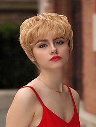 cheap -Human Hair Capless Wigs Human Hair Natural Wave / Natural Straight Pixie Cut / Layered Haircut / Asymmetrical / Short Hairstyles 2019 Life / Hot Sale / Natural Hairline Golden Short Capless Wig