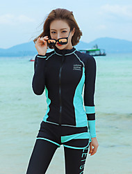 cheap -Women's Rash Guard Dive Skin Suit Elastane Diving Suit UV Sun Protection Breathable Full Body Front Zip - Swimming Diving Patchwork Summer / High Elasticity