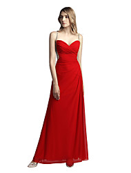 cheap -A-Line Beautiful Back Elegant Wedding Guest Formal Evening Valentine's Day Dress Spaghetti Strap Sleeveless Floor Length Spandex with Ruched Beading 2021