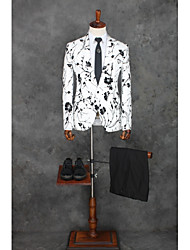 cheap -white light Patterned Standard Fit Cotton / Polyester Suit - Notch Single Breasted One-button / Suits