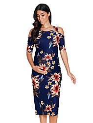 cheap -Women's Knee-length Maternity Blue Dress Basic Shift Floral Cut Out Ruched S M
