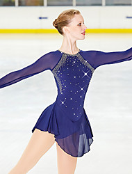 cheap -Figure Skating Dress Women's Girls' Ice Skating Dress Dark Blue High Elasticity Performance Practise Leisure Sports Skating Wear Quick Dry Anatomic Design Handmade Classic Long Sleeve Ice Skating