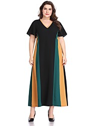 abordables -Femme Maxi Balançoire Robe - Mosaïque, Géométrique Bloc de Couleur Noir XXXL XXXXL XXXXXL Manches Courtes