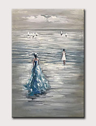 cheap -Oil Painting Hand Painted Vertical Landscape People Vintage Modern Rolled Canvas (No Frame)