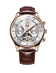 cheap -Men's Mechanical Watch Automatic self-winding Casual Calendar / date / day Leather Black / Brown Analog - Gold / White Black / Rose Gold White