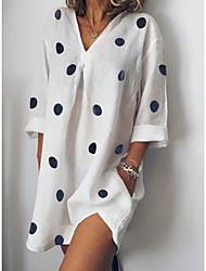 cheap -Women's Basic Asymmetrical Loose A Line Dress - Polka Dot Deep V White Blushing Pink Blue S M L XL