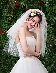 cheap -Four-tier Classic & Timeless Wedding Veil Elbow Veils with Starfish and Seashell Tulle / Drop Veil