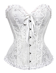 cheap -Corset Women's Plus Size Corsets Overbust Corset Tummy Control Push Up Jacquard Solid Colored Abstract Sexy Hook & Eye Lace Up Nylon Polyester Christmas Party Halloween Wedding Party Fall Winter