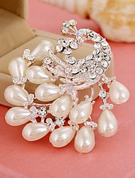cheap -Women's Brooches Hollow Out Peacock Stylish Imitation Pearl Imitation Diamond Brooch Jewelry White For Daily