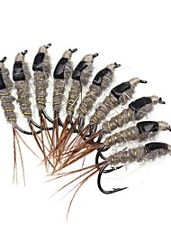 cheap -10 pcs Flies Fishing Lures Flies Feathers Carbon Steel Mixed Material Sinking Fly Fishing Bait Casting Ice Fishing