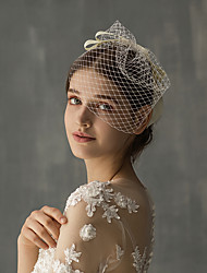 cheap -One-tier Stylish Wedding Veil Blusher Veils with Ribbon Bow Tulle / Drop Veil