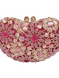 cheap -Women's Crystals / Hollow-out Alloy Evening Bag Rhinestone Crystal Evening Bags Solid Color Blushing Pink