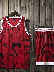 abordables -Homme Maillot et short uniformes de basket-ball Des sports Polyester Ensembles de Sport Basket-ball Sports d'équipe Entraînement actif Sans Manches Tenues de Sport Séchage rapide Anti-transpiration