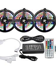 cheap -KWB 3x5M Light Sets RGB Strip Lights 900 LEDs SMD2835 8mm 1 12V 6A Adapter 1 44Keys Remote Controller RGB Cuttable Linkable Color Gradient 100-240 V 1 set