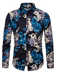 cheap -Men's Shirt - Color Block Blue