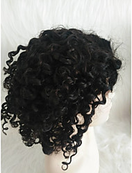 cheap -Human Hair Lace Front Wig Middle Part style Brazilian Hair Kinky Curly Black Wig 130% Density Women Women's Short Others