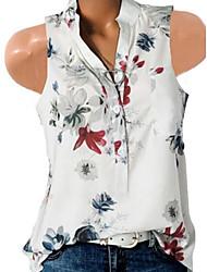 cheap -Women's Slim Shirt - Floral Floral / Fashion V Neck White / Spring / Summer / Fall