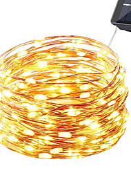 cheap -10m String Lights 100 LEDs Warm White Decorative Solar Powered 1 set