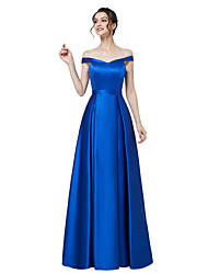 cheap -A-Line Off Shoulder Floor Length Satin Elegant / Vintage Inspired Prom / Formal Evening Dress with Sash / Ribbon 2020