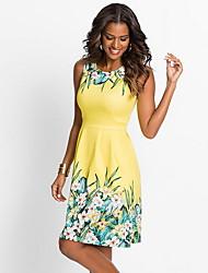 cheap -Women's Elegant A Line Dress - Floral Print Blue Yellow Fuchsia L XL XXL
