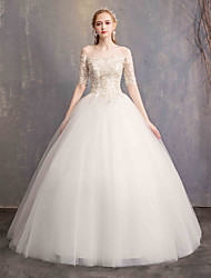 cheap -Ball Gown Off Shoulder Floor Length Tulle / Lace Over Satin Half Sleeve Made-To-Measure Wedding Dresses with Lace 2020 / Bell Sleeve