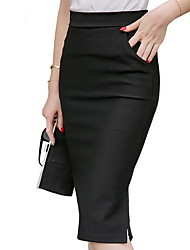 cheap -Women's Bodycon Skirts - Solid Colored Wine Black Red S M L