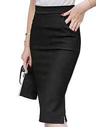 cheap -Women's Office / Career Daily Work Elegant & Luxurious Knee Length Skirts Solid Colored Split Basic Black Red