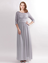 cheap -A-Line Bateau Neck Ankle Length Chiffon / Lace Bridesmaid Dress with Lace