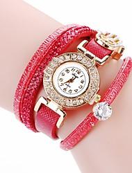 Недорогие -Жен. Часы-браслет Богемные Мода Черный Белый Красный Искусственная кожа Китайский Кварцевый Небесно-голубой Серый Персиковый Новый дизайн Повседневные часы Имитация Алмазный 1 ед. Аналоговый