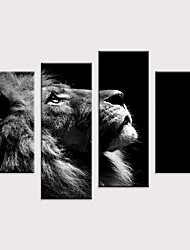 cheap -Print Rolled Canvas Prints - Animals Pop Art Modern Four Panels Art Prints